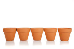 Row of Terra Cotta flower pots Stock Photo