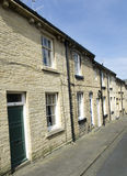 Row of Terraced Houses - Yorkshire Stone Street Royalty Free Stock Images