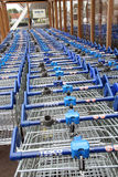 Row of tesco shopping trolleys Stock Photography