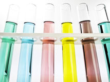 Row of test tubes filled with colored fluid Royalty Free Stock Photo