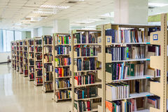 Row of textbooks in the large bookshelf in Chul Royalty Free Stock Image