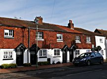 Row of 18th Century Cottages in The Hythe Staines upon Thames Surrey UK. Cottages built in the 18th century They all back onto the Thames and were most probably Stock Photo