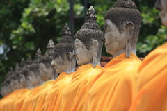 The row of Thai Images of Buddha Royalty Free Stock Photography