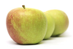 Row of three apples Royalty Free Stock Photography