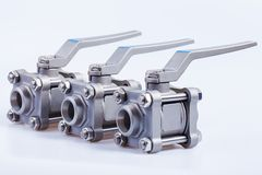 Row from three ball valve Stock Images