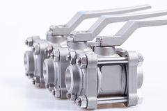 Row from three ball valve Stock Photos