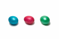 Row of three Easter eggs,  Stock Photos