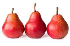 Row of three red pear Stock Photo