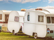 Row of three vintage restored caravans stock images