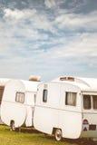Row of three vintage restored caravans Stock Photo