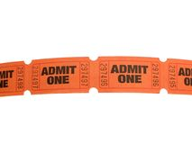 Row of tickets. Row of admit one tickets isolated on white Stock Photography
