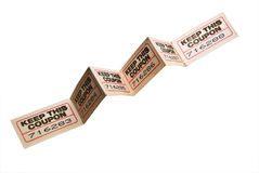 A Row of Tickets/Coupons royalty free stock image