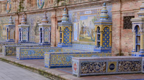 Row of tiles benches Royalty Free Stock Images