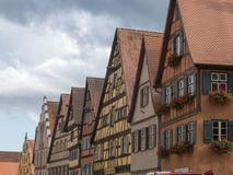 Row of timbered houses at Dinkelsbuhl along the romantic road in royalty free stock photography