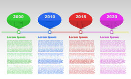 Row timeline infographic with years, infographics, text infographic, colored infographic Stock Photography