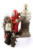 Row of tin toy robots Royalty Free Stock Photos