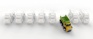 Row of tipper trucks. On white background with one truck different from the rest Stock Photos
