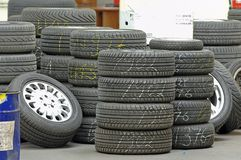 Row of tire. Lot of tires in garage Royalty Free Stock Photos
