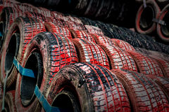 Row of tires Stock Photo