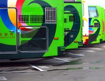 Row of Tourist Buses Stock Images
