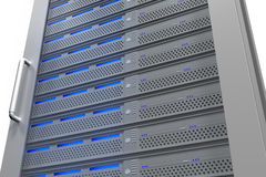 Row of tower servers with blue lights Stock Photos