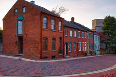 Row of town homes in historic section of city. Stock Image