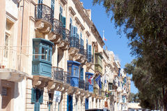 A row of townhouses in the old town in Valletta, Malta Stock Photography