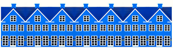 Row Of Toy Houses. Row of colored toy houses on a white background Royalty Free Stock Photos