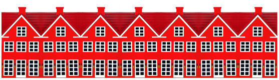 Row Of Toy Houses. Row of red toy houses on a white background Stock Image