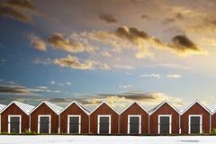 Row of traditional boathouses Stock Image