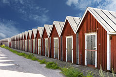 Row of traditional boathouses Royalty Free Stock Images