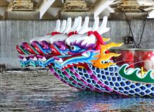 A Row of Traditional Dragon Boats Royalty Free Stock Photo