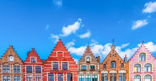 Colorful medieval houses in Bruges. stock image