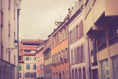 Row of traditional old European buildings royalty free stock photo