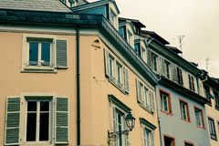 Row of traditional old European buildings royalty free stock photography