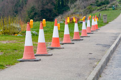 Row of traffic bollards with lights Stock Photos