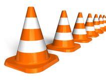 Row of traffic cones Royalty Free Stock Photo