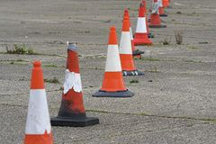 Row of Traffic Cones Royalty Free Stock Images