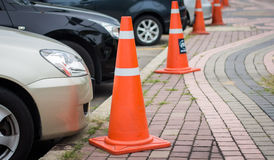 Row of traffic cones Royalty Free Stock Photos