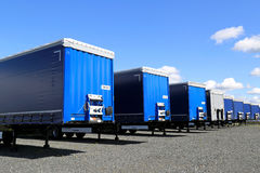 Row of Trailers on a Yard Stock Photos