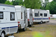 Row of Travel Trailers Stock Image