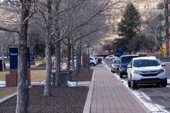 Winter Walkway, Flagstaff, AZ stock photo