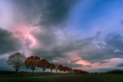 Row of trees. Clouds in Nederweert, Netherlands Royalty Free Stock Images