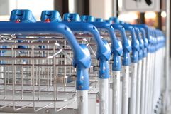 Row of trolleys. At berlin tegel airport Royalty Free Stock Photography