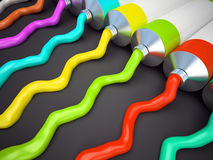 Row of tubes with multicolored paint 3D rendering stock illustration