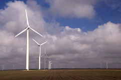 Row of Turbines and Cotton. Stock Photo