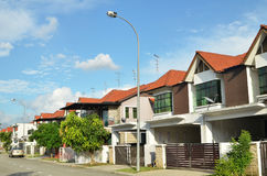 Row of two storey newly built terrace house Royalty Free Stock Image