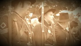 Row of Union Civil War soldiers (Archive Footage Version). View of Row of Union Civil War soldiers (Archive Footage Version stock footage