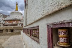 Prayer wheels and stupa, Lamayuru Monastery, Ladakh stock image