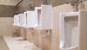 Row of urinals in tiled wall in a public restroom Royalty Free Stock Image